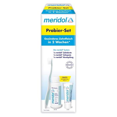 meridol Probier-Set: 1 Zahnbürste sanft + 1 Mundspülung 100ml + 1 Zahnpasta 20ml
